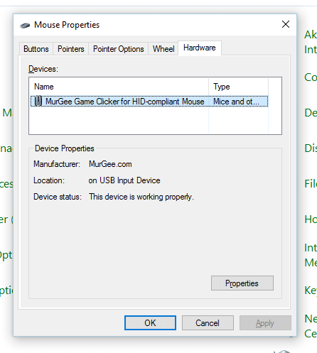 Hardware Configuration from Mouse Properties