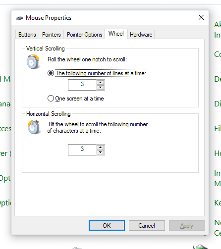 Scroll Wheel Configuration from Mouse Properties
