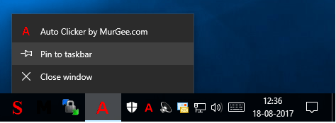Pin Auto Clicker to taskbar on Windows 10
