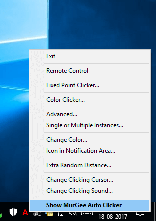 Right Click Menu on Notification Icon of Auto Clicker on Windows 10 Computer